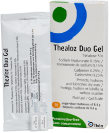 image of a box of Thealoz Duo Gel eye drops, the blister pack inside and two unit doses