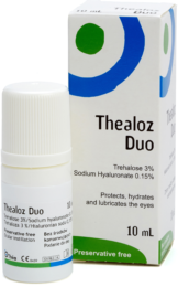 image of a box of Thealoz Duo 10ml with the ABAK bottle containing the drops in front