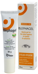 image of a box of Blephagel preservative free with a steri free tube containing blephagel in front