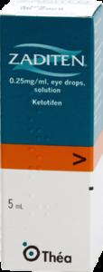 Image of a box of Zaditen 5ml eye drops